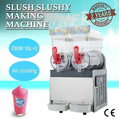 2 x 15L 700W Slushy Machine Frozen Drink Slush Making Machine for Commercial Use