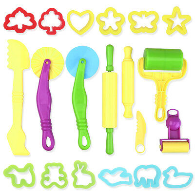20PCS Childrens Plastic Play Dough Cutters Animal Shapes Pastry Doh School Home