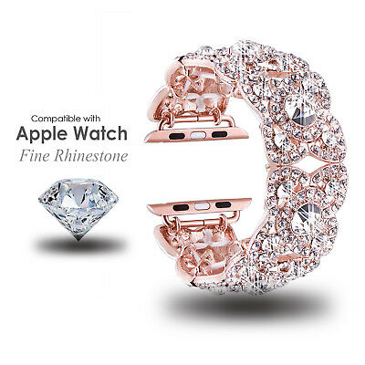 Luxury Rhinestone Cuff Bracelet Replacement Strap For Apple Watch Band 38mm 42mm