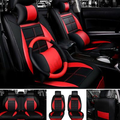 11Pcs Deluxe Universal Car 5-Seat Full Protect Leather Cushion Seat Cover Uk