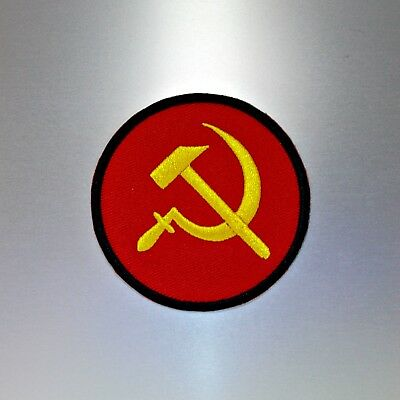 Hammer and Sickle Patch — Iron On Badge Embroidered Motif — Communist Communism