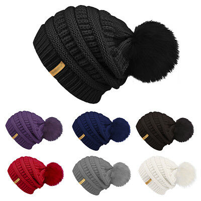 Women Crochet Ski Cap Beanie Pom Bobble Winter Warm Wool Knitted Crochet Hat AU