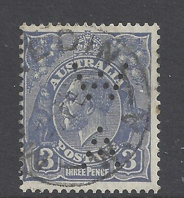 """Australia KGV 3d Blue Die 2 C of A Wmk Perf 13.5 Punctured """" WA"""" (ACSC109) Used"""