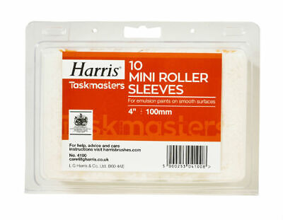 Paint Rollers Covers 100mm Harris For Emulsion Paints on smooth surfaces 10 Pcs