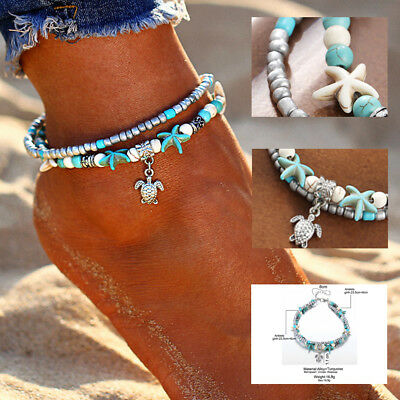Boho Festival Silver Turquoise Beaded Turtle Anklet Ankle Chain 2 Layer Uk Stock