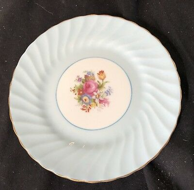 Foley English Bone China Side Plate In Lovely Condition - Blue With Floral