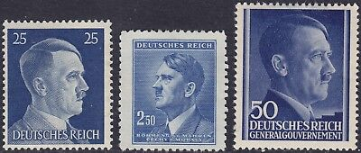 Stamp Selection Germany WWII Fascism AH Head Bohemia GG Poland 25pf MH