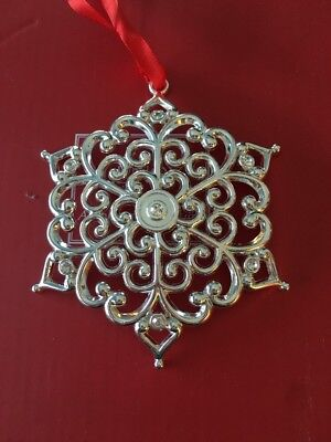 Lenox Sparkle & Scroll Silverplated Clear Crystal Round Snowflake XMas Ornament