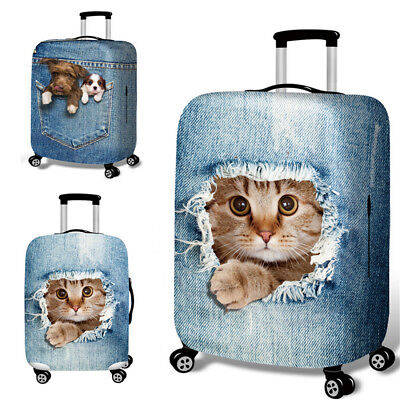 """25-32"""" Cat Dog Elastic Luggage Trolley Case Cover Durable Suitcase Protector GN"""