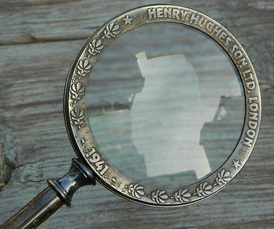 Antiqued Heavy Brass Hand Held Magnifying Glass 4inch Henry Hughes London