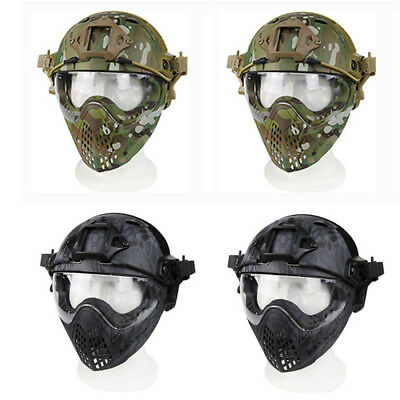 PJ Tactical Fast Helmet Full Face Mask Goggles Game Airsoft Paintball Guard GN