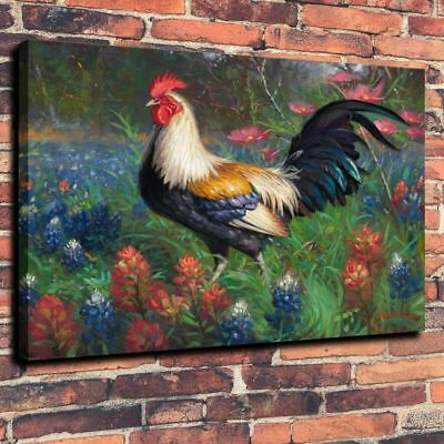 """Home Decor ,Animal Art print on Canvas Oil Painting The Rooster Flower 12x16"""""""
