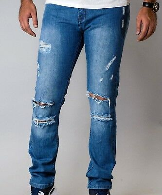 Mens Fashion Ripped Denim Pants Casual Jeans Destroyed Frayed SLIM SKINNY FIT