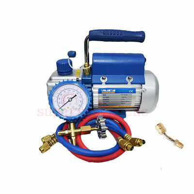 2.12CFM HVAC Rotary Vane Air Vacuum Pump Metric Gauge Refrigerator Conditioning