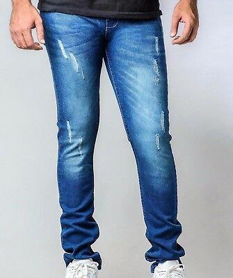 Mens Stretch Distressed FRAYED Ripped Denim Pants SLIM SKINNY FIT JEANS Casual