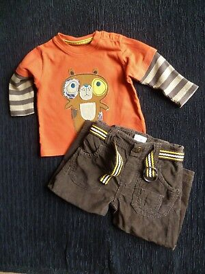 Baby clothes BOY 3-6m outfit M&S LS rust bear top/brown corded trousers SEE SHOP