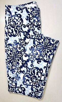 NWT $89 Chico's Blue/White Juliet French Crepe Ankle Pants, Choose a Size!