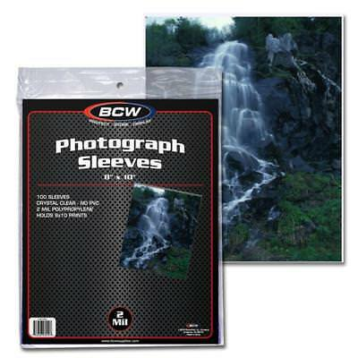 PACK OF 100 BCW 8 x 10 PHOTO 2 MIL SOFT POLY SLEEVES PROTECTORS 8x10