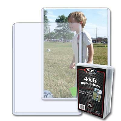 25 BCW 4 x 6 POSTCARD / PHOTO RIGID HARD PLASTIC TOPLOAD HOLDERS 4x6