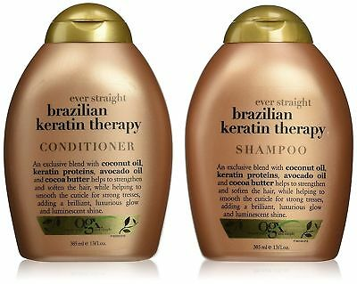 OGX Brazilian Keratin Smooth Ever Straightening Shampoo &Conditioner13oz/ 385 ml