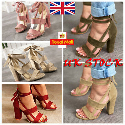 UK Women Block High Heels Sandals Open Toe Ankle Strap Lace Up Summer Shoes Size