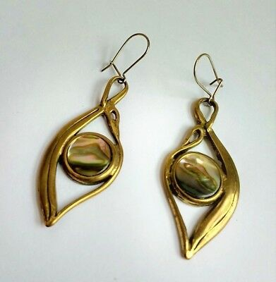 Beautiful Antique Arts Crafts Deco 1910s 20s Abalone Gold Brass Drop Earrings