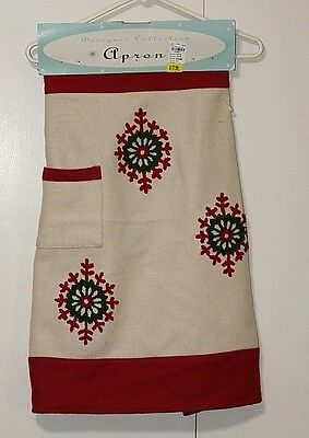 Wool Christmas lined apron Snowflake NWT Mrs Claus apron