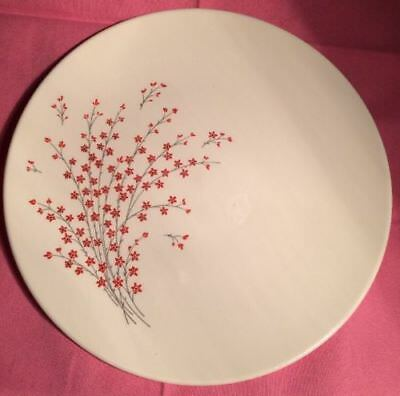 Vintage Knowles Lacquer Blossom Dinner Plate X-5190 Red Flower White Gray HTD