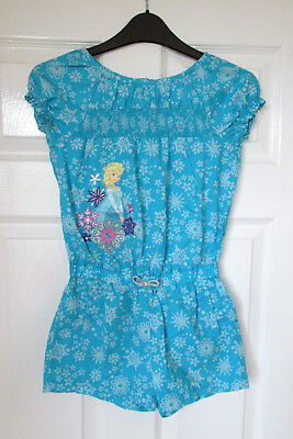Disney Store Playsuit 7-8 Years. All In One Blue Turquoise Frozen Elsa Summer