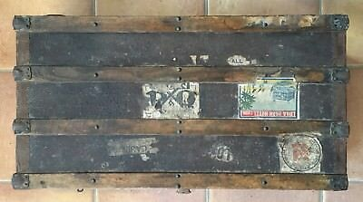 Antique Travel Chest Trunk Steamer Early 1900s rare labels
