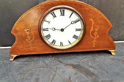 Inlaid Swiss movement mantle clock in mahogany