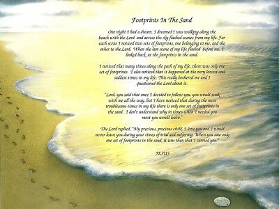 """Footprints in the Sand"" Inspirational Poem Print - Spiritual, Religious"