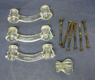 "3 Antique Clear Glass Drawer Pulls 4"" W Posts w 1 Matching Single Pull Chips T93"