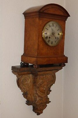 A Large Victorian Antique Wooden Inlaid Bracket / Mantel Clock, Quarter Striking