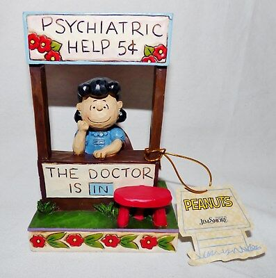 """Nwt Jim Shore Peanuts Lucy Psychiatric Help 5 Cents """"the Doctor Is In"""" #f4042386"""