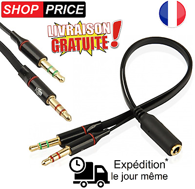 Cable adaptateur casque PC micro smartphone 3.5mm Jack femelle/Double 3.5 mal