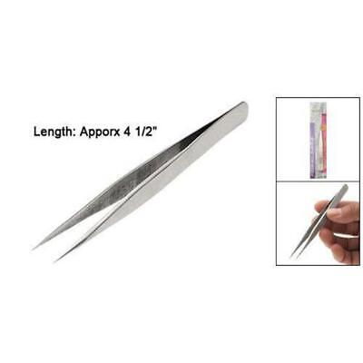 "FIne PoInt Silver Tone PoInty Straight Tweezers 4 1/2"" L6 BT"