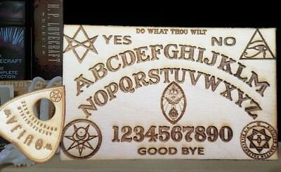 Wooden Ouija Board & Planchette w/ Aleister Crowley Symbols Engraved On Wood