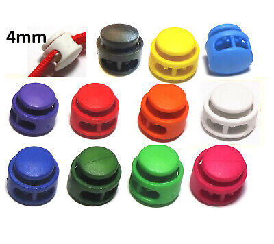 2x Cord lock 4mm toggle stopper clip clamp drawstring buckle spring catch uk