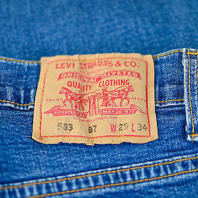 Vintage Levi 583 Jeans Tapered Zip Fly Blue (Patch W29 L34) W 26 L 29 US 4