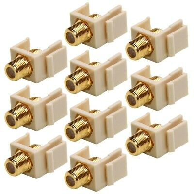 4x Insert Keystone Jack-Modular F Type Coax//Coaxial Wall Plate Connector White
