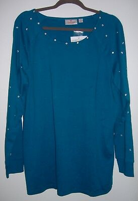 Quacker Factory Women's XL TEAL GREEN  Knit Top Cotton Long Sleeve Embellished