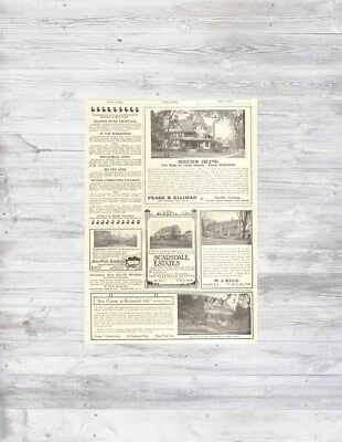 Antique 1912 New York SHELTER ISLAND NY Scarsdale + Home Sale Real Estate Ads