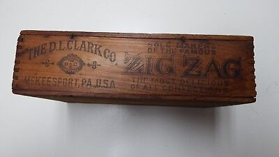1920s D L Clark Zig Zag Confection Wooden Counter Display Box Cracker Jack Gum
