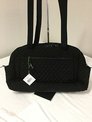 Vera Bradley Black Microfiber Diaper Bag With Changing Pad BN