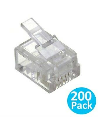200 Pack RJ11 Modular Plugs 6P4C Crimp On Solid Wire Connector Telephone Phone