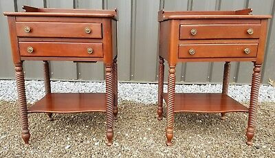 Consider H Willett - Pair Solid Wood Double-Drawer Barley Twist Legs Nightstands