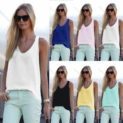 Womens New Plain Sleeveless Tank Blouse Ladies Chiffon Camisole Vest Tops Cami