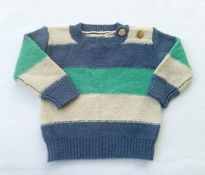 Cotton On Baby Boys Knit Jumper Size 00 Green Blue Tan Stripes Buttons