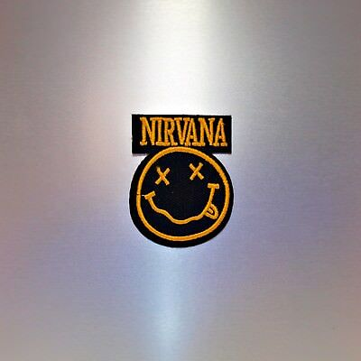 Nirvana Patch — Iron On Badge Embroidered Motif — Band Grunge Music Smiley